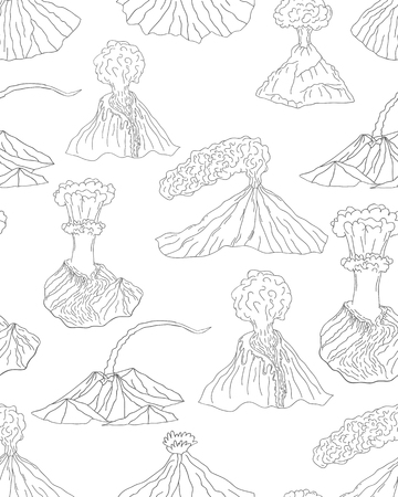 natural forces: Volcano erupting vector illustration. Volcano seamless pattern. Different stages of volcano ornament