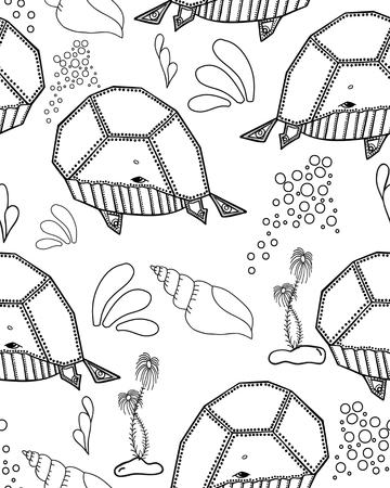 inhabitants: Seamless pattern. Marine Drawings. Vector Illustrations Robot Inhabitants of the Underwater World. Steampunk animal