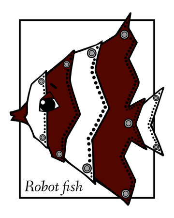 inhabitants: Marine Drawings. Vector Illustrations Robot Inhabitants of the Underwater World. Steampunk animal