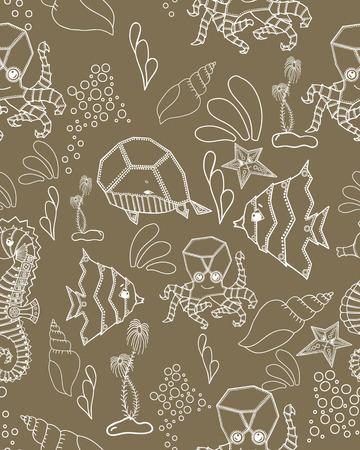 inhabitants: Seamless pattern. Marine Drawings. Vector Illustrations Robot Inhabitants of the Underwater World. Steampunk animal