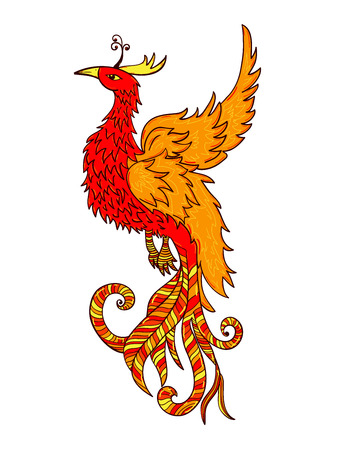 phoenix: Chinese traditional red phoenix. Feng Shui symbolize fire element.