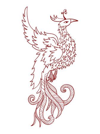ave fenix: Phoenix roja tradicional china. Feng Shui simboliza el elemento fuego.