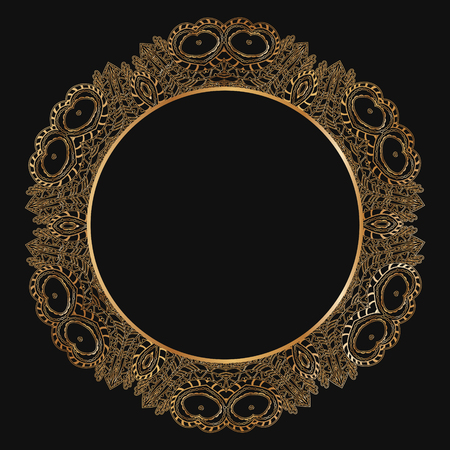 decoration design: Round lace border frame silhouettes. Can be used for decoration and design photo frame, menu, card, scrapbook, album. Vector Illustration.