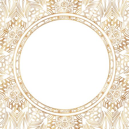 gold floral: Vector gold floral frame silhouettes. Illustration