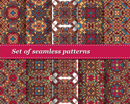 Cute Set of vector seamless abstract pattern. Background for design and fashion. Arabic, Indian patterns
