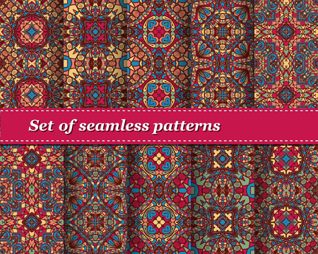 seamless tile: Cute Set of vector seamless abstract pattern. Background for design and fashion. Arabic, Indian patterns