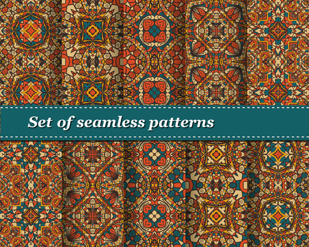 talavera: Cute Set of vector seamless abstract pattern. Background for design and fashion. Arabic, Indian patterns