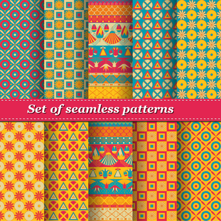 Set of Ancient Egyptian ornament Tribal seamless pattern. ?an be used for cloth, jackets,  invitation, flyers, bags, notebooks, cards, envelopes, pads, blankets, furniture, packing,