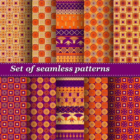 blankets: Set of Ancient Egyptian ornament Tribal seamless pattern. ?an be used for cloth, jackets,  invitation, flyers, bags, notebooks, cards, envelopes, pads, blankets, furniture, packing,