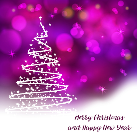 Stylized christmas tree on decorative bokeh background lettering text for internet sites, gift cards, flyers, and presentations new year vector illustration.