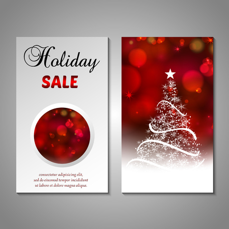 Set of stylized christmas tree invitation, flyer, sale, discount card template decorative bokeh background.