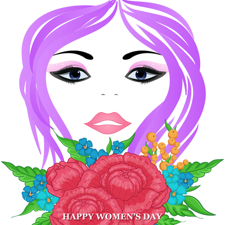 Happy Womens Day greeting card with beautiful floral designing elements. eps10 graphic illustration of face of lady flower concept. Illustration