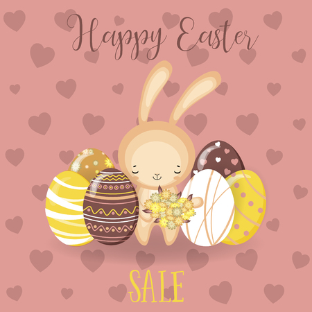Greeting cards with cute Easter bunny, Easter eggs and flowers. Vector funny characters rabbit illustration.