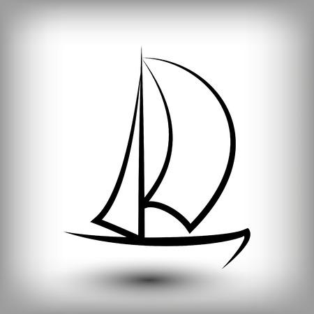 Modelli logo yacht. Sagome di barche a vela. Icona linea vela, illustrazione vettoriale. Simboli di yacht e regate