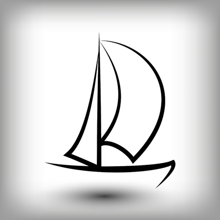 Szablony logo jachtu. Sylwetki łodzi żagiel. Ikona linii żagiel, ilustracji wektorowych. Symbole żeglarskie i regatowe