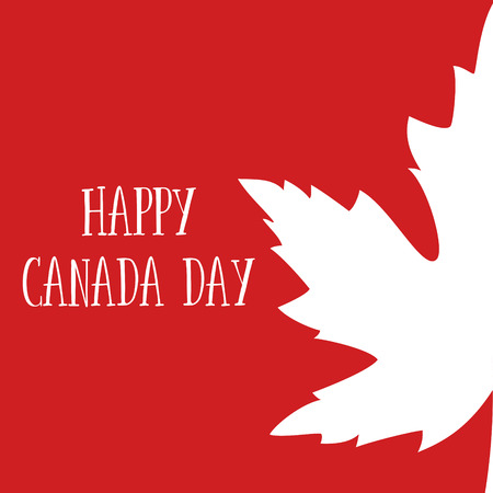 Happy Canada Day poster. Canadian flag vector illustration greeting card. Canada Red Maple leaf on white background. 1st july.
