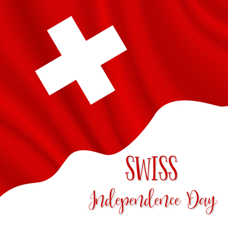 1 August, Swiss Independence Day background in national flag color theme. Switzerland National Day. Celebration banner with waving flag. Vector illustration