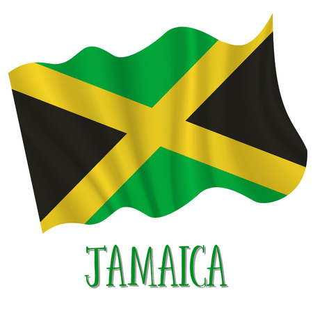 6 August, Jamaica Independence Day background in national flag color theme. Jamaica National Day. Celebration banner with waving flag. Vector illustration