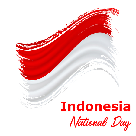 17 August, Indonesia Independence Day background in national flag color theme. Indonesia National Day. Celebration banner with waving flag. Vector illustration