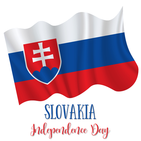 1 September, Slovak constitution day. Slovakia Independence Day background in national flag color theme. Celebration banner with waving flag. Vector illustration Vettoriali