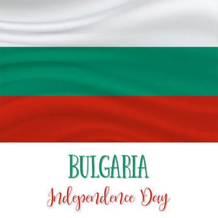 22 September. Bulgaria Independence Day background in national flag color theme. Celebration banner with waving flag. Vector illustration