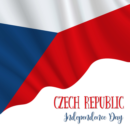 28 October, Czech Republic Independence Day background in national flag color theme. Celebration banner with waving flag. Vector illustration