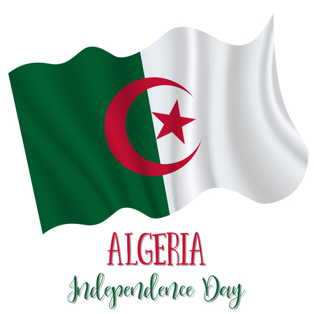 5 July, Algeria Independence Day background in national flag color theme. Celebration banner with waving flag. Vector illustration