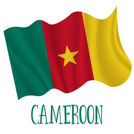 1 January. Cameroon Independence Day background in national flag color theme. Celebration banner with waving flag. Vector illustration Stock Illustratie