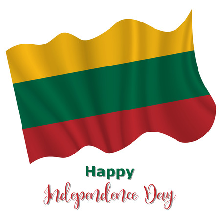 16 February, Lithuania Independence Day background in national flag color theme. Celebration banner with waving flag. Vector illustration Ilustração