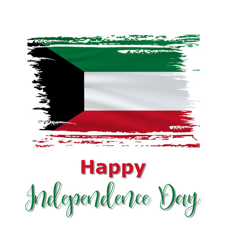 25 February, Kuwait Independence Day background in national flag color theme. Celebration banner with waving flag. Vector illustration