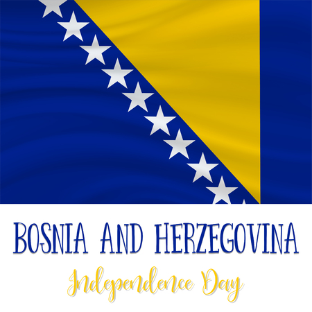 1 March, Bosnia and Herzegovina Independence Day background in national flag color theme. Celebration banner with waving flag. Vector illustration