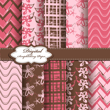 Set of vector abstract flower pattern paper for scrapbook. EPS10