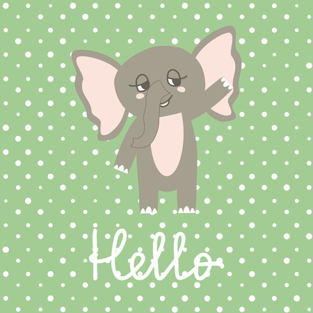Cute Happy Elephant cartoon on polka pots background. Print or Icon Vector Illustration. nursery art. Hello text  イラスト・ベクター素材
