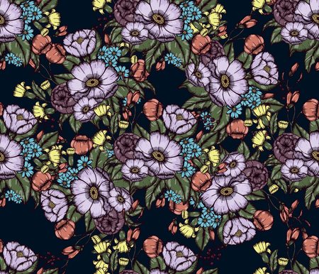 Vector Moody Florals seamless pattern design. Hand drwawing flowers. EPS10 illustration