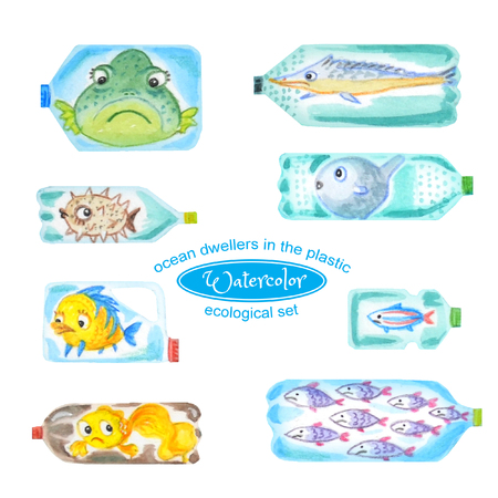 Sad sea animals in plastic bottles are unhappy with ocean pollution. Watercolor illustration. Set of fish isolated on white.
