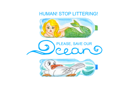Sad sea animals in plastic bottles are unhappy with ocean pollution. Watercolor illustration.  Inscription Save our ocean isolated on white.