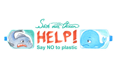 Sad sea animals in plastic bottles are unhappy with ocean pollution. Watercolor illustration.  Inscription HELP isolated on white. Banco de Imagens