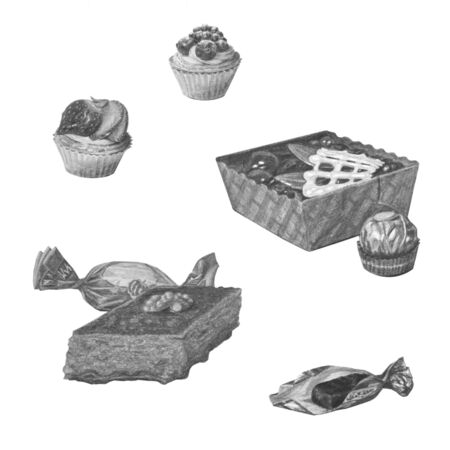 Set of monochrome sweets isolated on white. Candy, cakes, chocolate, desserts. Watercolor beautiful illustration drawn by hand.