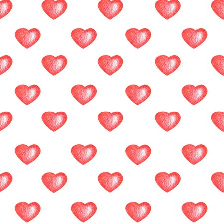 Love temes seamless texture. White background. Simple seamless pattern with red hearts isolated on white. Can be used for pattern fills, surface textures, backgrounds, wallpapers. Stock Photo