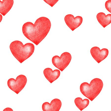 Love themes seamless texture. Seamless pattern with red hearts isolated on white. Can be used for pattern fills, surface textures, backgrounds, wallpapers. Stock Photo
