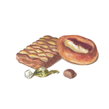 A set of baking. Bun with cottage cheese, puff with jam and chocolate candy. Beautiful watercolor illustration, objects are isolated on a white background.