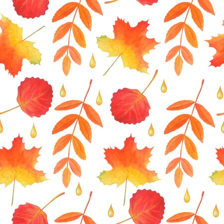 Seamless pattern of yellow leaves and raindrops. Original watercolor autumn background. Can used for your design, rustic style decor, textile, wallpaper, tablecloth and more.