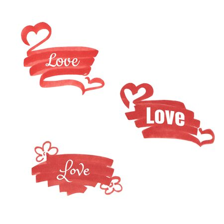A set of bright red frame with hearts. Hand drawn illustration. Isolated on white background. Template for your text, advertising, greetings, promo and other design. Standard-Bild - 130262226