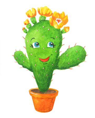 Merry watercolor illustration: green cactus girl  in a pot in cartoon style. Isolated on a white background. Can be used for prints, design, decoration, childrens textiles.