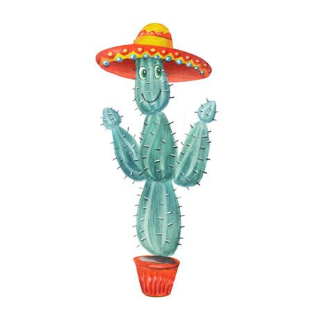 Green Cactus in a sombrero in a pot.  Watercolor illustration in cartoon style isolated on a white background. Can be used for prints, design, decoration, childrens textiles.