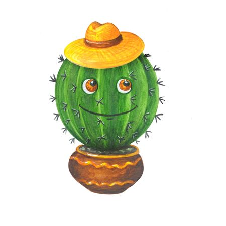 Merry watercolor illustration: green cactus in straw hat in a pot in cartoon style. Isolated on a white background. Can be used for prints, design, decoration, childrens textiles.