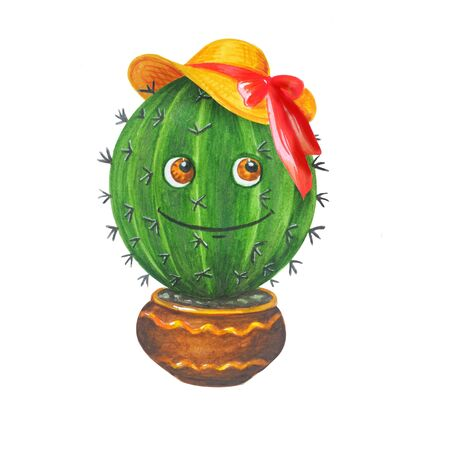 Merry watercolor illustration: green cactus in ladies straw hat in a pot in cartoon style. Isolated on a white background. Can be used for prints, design, decoration, childrens textiles.