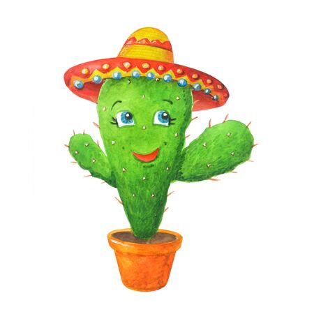 Merry watercolor illustration: green cactus in the sombrero in a pot in cartoon style. Isolated on a white background. Can be used for prints, design, decoration, childrens textiles.