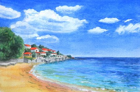 Watercolor illustration overlooking the sea resort. Landscape of an old European town on the sea coast under a blue sky. Banque d'images - 130916768