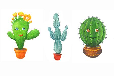 Watercolor set: three green cactus in a pots in cartoon style. Illustrations Isolated on a white background. Can be used for prints, design, decoration, childrens textiles.